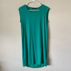 MaxMara lyocell teal micro pleated shift dress